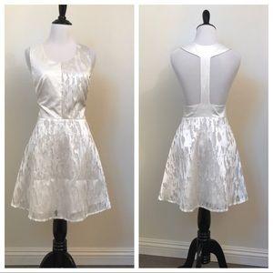 Christina Karin White Sateen Textured T-Back Dress